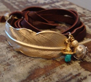 Gold Feather Leather Wrap Bracelet